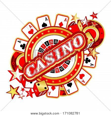 Casino Party Vector game of roulette and dice emblem gambling house gambling machines the glowing sign
