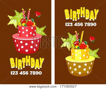 Vector business cards on holidays birthdays can be used for printing advertising. Business cards invitations postcard