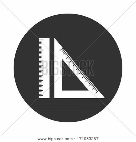 Black and White Icon Engineering geometry ruler and setsquare