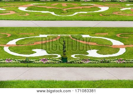 Ornamental Lower gardens of Grand Peterhof Palace neat Saint Petersburg, Russia