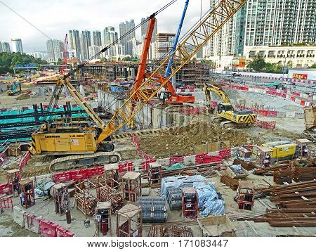 Hong Kong, China - February 13, 2016: Large construction site of West Kowloon Terminus Station in Hong Kong for the Guangzhou-Shenzhen- Hong Kong Express Rail Link (XRL).