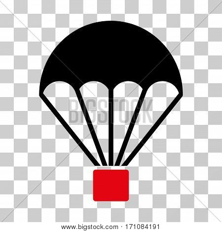 Parachute icon. Vector illustration style is flat iconic bicolor symbol intensive red and black colors transparent background. Designed for web and software interfaces.