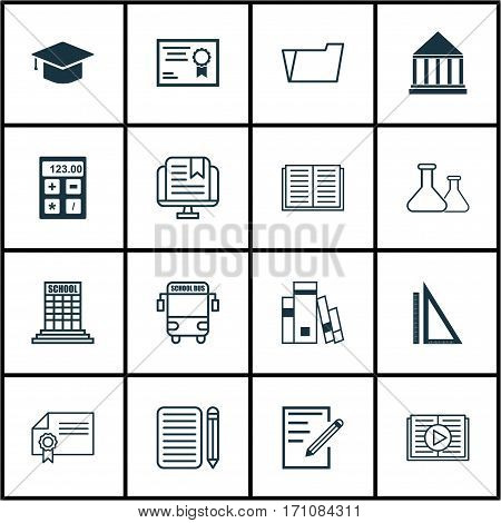 Set Of 16 Education Icons. Includes Diploma, Document Case, E-Study And Other Symbols. Beautiful Design Elements.