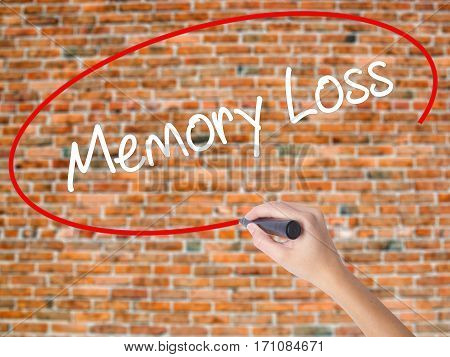 Woman Hand Writing Memory Loss With Black Marker On Visual Screen