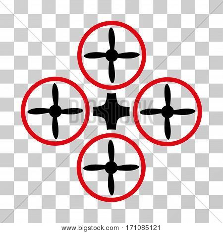 Quadcopter icon. Vector illustration style is flat iconic bicolor symbol intensive red and black colors transparent background. Designed for web and software interfaces.