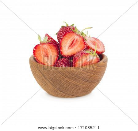 bowl with strawberries isolated on white background. Ripe strawberries close-up. Background berry. Sweet and juicy berry with copy space for text.