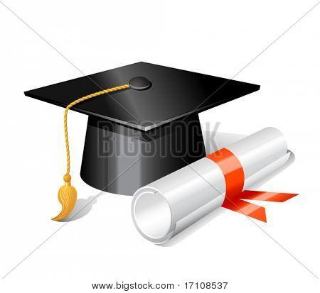 Graduation cap and diploma. Vector illustration poster