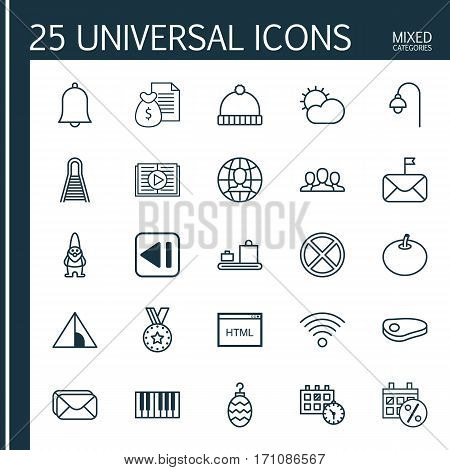 Set Of 25 Universal Editable Icons. Can Be Used For Web, Mobile And App Design. Includes Elements Such As Radish, Society, Report And More.