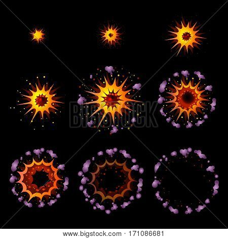 Colorful explosion animation concept with smoke effect in cartoon style on dark background isolated vector illustration