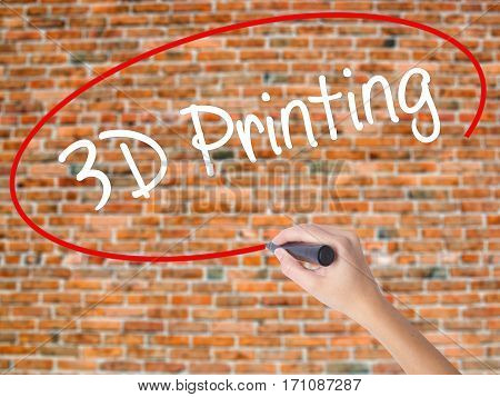 Woman Hand Writing 3D Printing With Black Marker On Visual Screen.