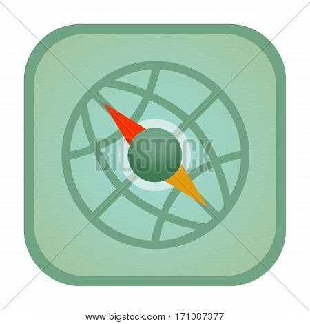 Compass and globe icon isolated on white background