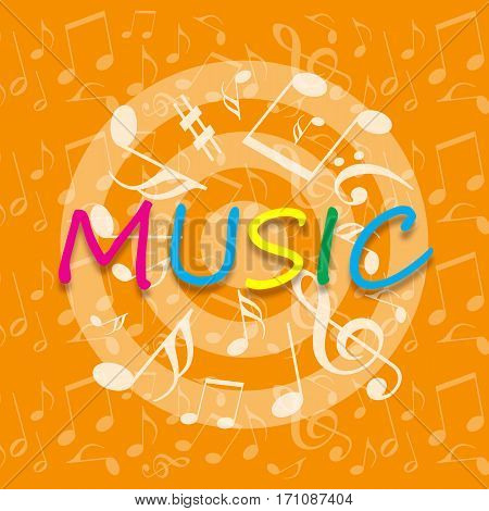 Bright orange music background with musical notes