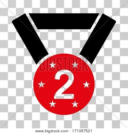 Second Medal icon. Vector illustration style is flat iconic bicolor symbol intensive red and black colors transparent background. Designed for web and software interfaces.