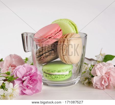 French macaroons in cup. Turquoise chocolate and green macaroons with spring flowers. Spring concept.