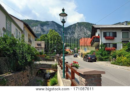 Alpine municipality Hohe Wand Stollhof. Lower Austria