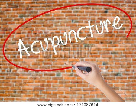 Woman Hand Writing Acupuncture With Black Marker On Visual Screen.
