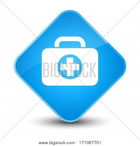 First Aid Kit Bag Icon Special Cyan Blue Diamond Button