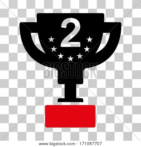 Second Prize Cup icon. Vector illustration style is flat iconic bicolor symbol intensive red and black colors transparent background. Designed for web and software interfaces.