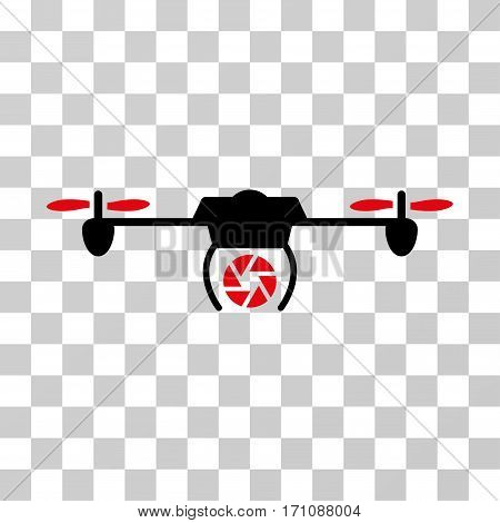 Shutter Spy Airdrone icon. Vector illustration style is flat iconic bicolor symbol intensive red and black colors transparent background. Designed for web and software interfaces.