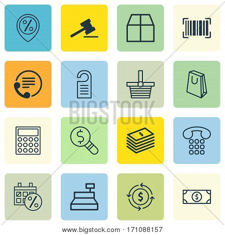 Set Of 16 Ecommerce Icons. Includes Telephone, Price, Calculator And Other Symbols. Beautiful Design Elements.