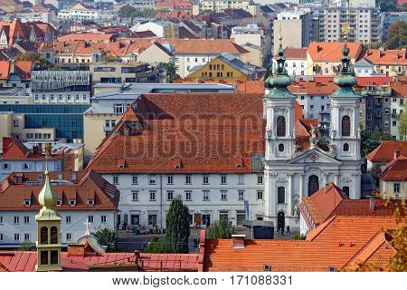GRAZ/ AUSTRIA - OCTOBER 7. View of the old town center of Graz from the staircase of Schlossberg Hill on October 7, 2016. Graz, Austria.