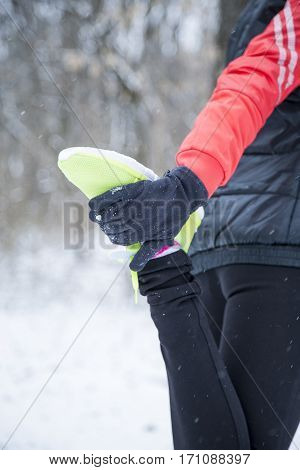 Cheerful Young Sport Woman Jogging At Winter Outdoor. Smiling Caucasian Girl Running In Winter Park