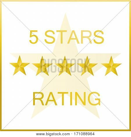 five stars rating on white background with gold border