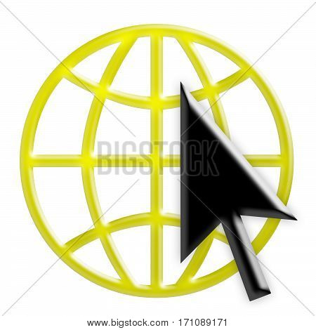 Yellow 3d Internet Globe Icon With Black Arrow Cursor World Wide Web Symbol 3d Illustration Isolated On White Background