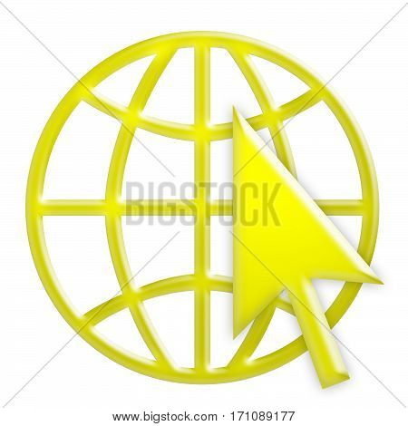 Yellow 3d Internet Globe Icon With Yellow Arrow Cursor World Wide Web Symbol 3d Illustration Isolated On White Background