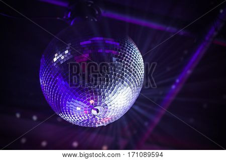 Disco Ball With Bright Purple Rays