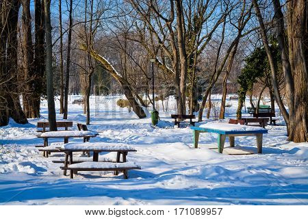 Bench in the park after a snow