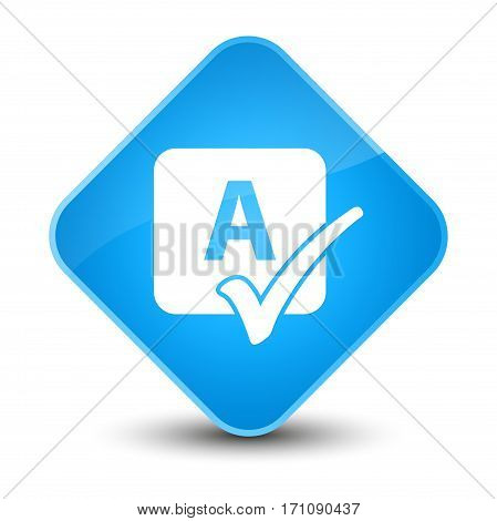 Spell Check Icon Special Cyan Blue Diamond Button