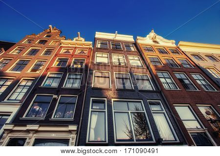 Amsterdam - Netherlands .Vulytsya in the historic center of Amsterdam. Amsterdam is the capital and most populous city in the Netherlands.