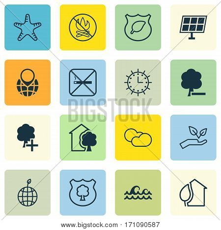 Set Of 16 Eco Icons. Includes House, Cloud Cumulus, Timber And Other Symbols. Beautiful Design Elements.