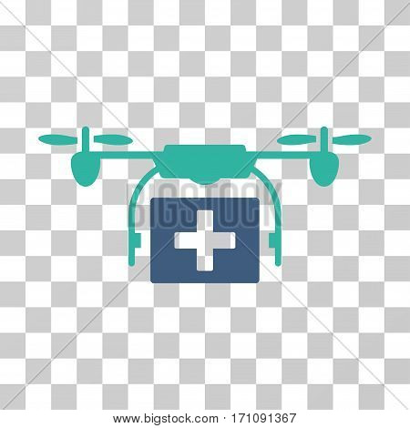 Ambulance Drone icon. Vector illustration style is flat iconic bicolor symbol cobalt and cyan colors transparent background. Designed for web and software interfaces.