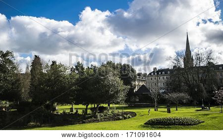 View on the garden park in the center town in Bath.England.Somerset
