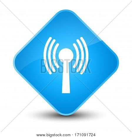 Wlan Network Icon Special Cyan Blue Diamond Button