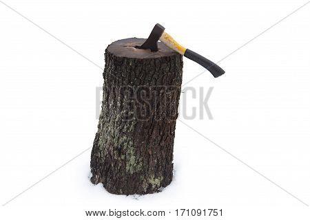 Ax Wood In Stump