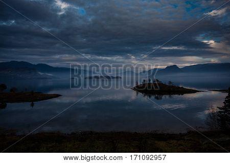 Kvam In Hardanger Fjord, Norway, In A Fascinating Light