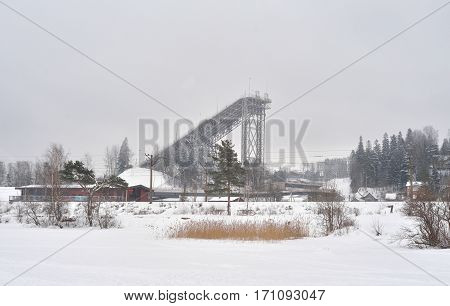 Ski Resort in Village Kavgolovo at cloud day in Leningrad region Russia.