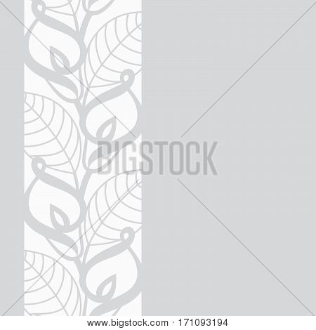 Vector seamless vertical border pattern with callas lilies flowers in paper cutting style