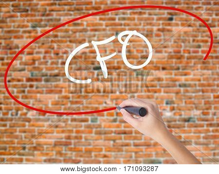 Woman Hand Writing Cfo (chief Financial Officer) With Black Marker On Visual Screen