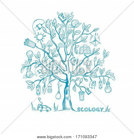 Ecology tree infographic concept with environmental eco and earth protection elements in sketch style isolated vector illustration