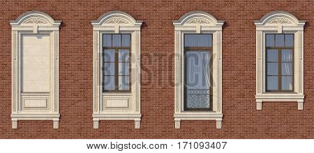 Framing of windows in classic style on the brick wall of red color with French balcony. 3d rendering.