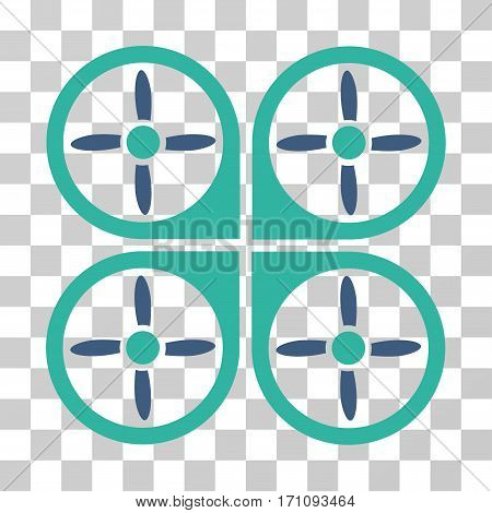 Copter icon. Vector illustration style is flat iconic bicolor symbol cobalt and cyan colors transparent background. Designed for web and software interfaces.