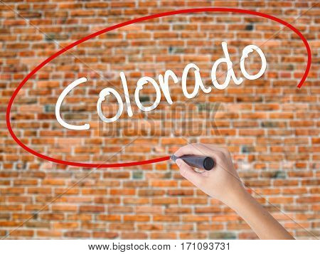 Woman Hand Writing Colorado  With Black Marker On Visual Screen