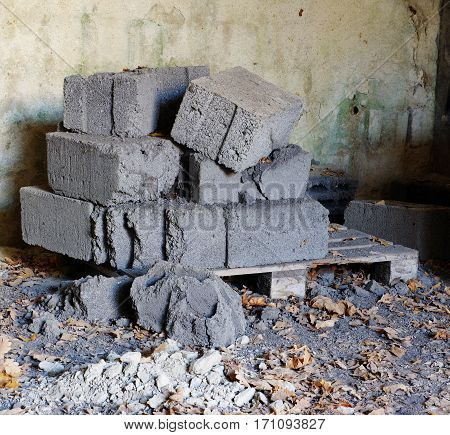 old aerated concrete blocks building material storage