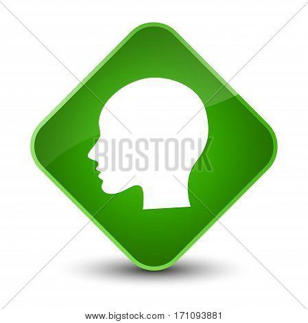 Head Woman Face Icon Special Green Diamond Button