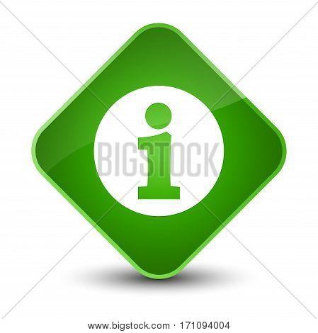 Info Icon Special Green Diamond Button