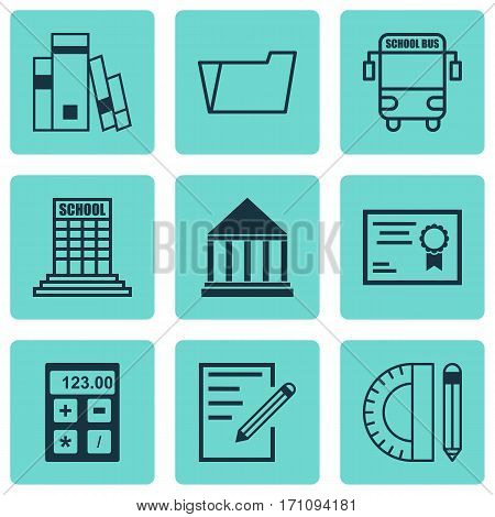 Set Of 9 School Icons. Includes Electronic Tool, Transport Vehicle, Academy And Other Symbols. Beautiful Design Elements.